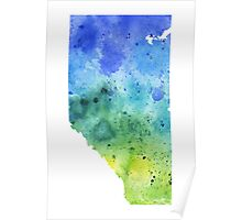 Watercolor Map of Alberta, Canada in Blue and Green - Giclee Print of My Own Watercolor Painting Poster