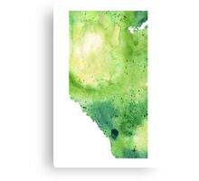 Watercolor Map of Alberta, Canada in Green - Giclee Print of My Own Watercolor Painting Canvas Print