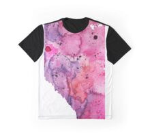 Watercolor Map of Alberta, Canada in Pink and Purple - Giclee Print of My Own Watercolor Painting Graphic T-Shirt