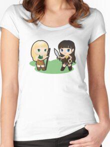 Geek Babies: Xena & Gabrielle Women's Fitted Scoop T-Shirt