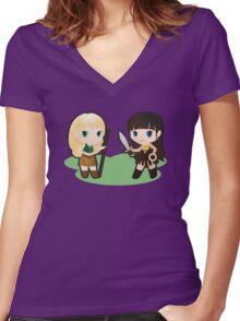 Geek Babies: Xena & Gabrielle Women's Fitted V-Neck T-Shirt