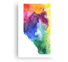 Watercolor Map of Alberta, Canada in Rainbow Colors - Giclee Print of My Own Watercolor Painting Canvas Print