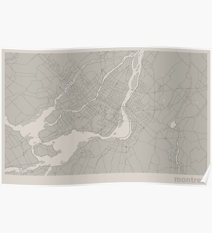 Minimal Maps - Montreal - Light Poster