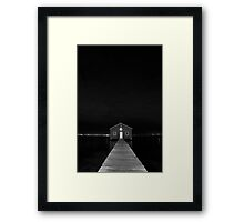 Crawley Edge Boat Shed at Night Framed Print