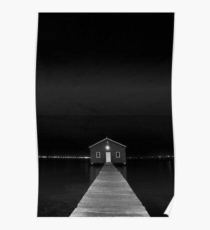 Crawley Edge Boat Shed at Night Poster
