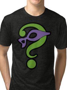 The Riddler  (Purple Question Mark and Mask) - Batman Tri-blend T-Shirt