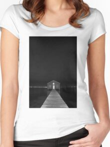 Crawley Edge Boat Shed at Night Women's Fitted Scoop T-Shirt