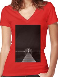 Crawley Edge Boat Shed at Night Women's Fitted V-Neck T-Shirt