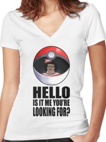 Pokemon go , is it me you're looking for? Women's Fitted V-Neck T-Shirt