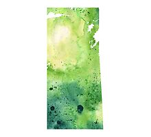 Watercolor Map of Saskatchewan, Canada in Green - Giclee Print of My Own Watercolor Painting Photographic Print
