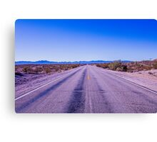 Straight endless road Through Desert Canvas Print