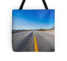 Straight endless road Through Desert Tote Bag
