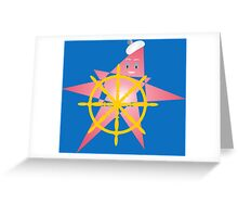 Funny Starfish at the Helm Greeting Card