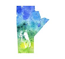 Watercolor Map of Manitoba, Canada in Blue and Green - Giclee Print of My Own Watercolor Painting Photographic Print