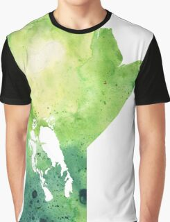 Watercolor Map of Manitoba, Canada in Green - Giclee Print of My Own Watercolor Painting Graphic T-Shirt