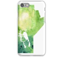 Watercolor Map of Manitoba, Canada in Green - Giclee Print of My Own Watercolor Painting iPhone Case/Skin
