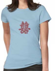 Chinese Wedding Red Double Happiness Symbol Floral Papercut Womens Fitted T-Shirt