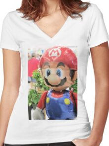 Mario on HELIUM! Mama Mia! Women's Fitted V-Neck T-Shirt