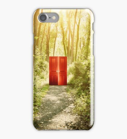 Magical Red Surreal Doors in Nature Forest  iPhone Case/Skin