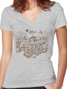 Johto Map Women's Fitted V-Neck T-Shirt