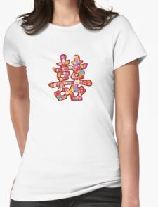 Chinese Wedding Spring Flowers Double Happiness Symbol Womens Fitted T-Shirt