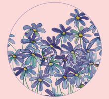 Purple Daisies in Watercolor & Colored Pencil  Kids Clothes