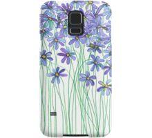 Purple Daisies in Watercolor & Colored Pencil  Samsung Galaxy Case/Skin