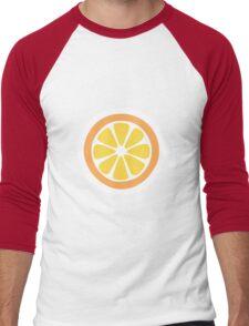 Orange Slices Pattern in Blue Men's Baseball ¾ T-Shirt