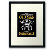 oldman with motor cycle Framed Print