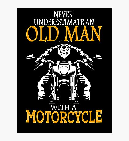 oldman with motor cycle Photographic Print