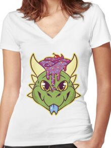 Cupcake Dragon Women's Fitted V-Neck T-Shirt