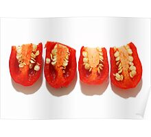 Sliced red peppers Poster