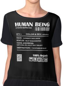 Human Being Shipping Label Chiffon Top