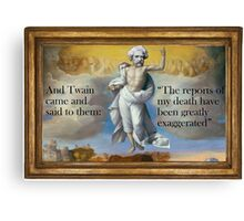 Bodily ascension of Mark Twain Canvas Print