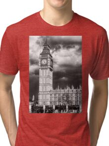 Storm Clouds Gather over Big Ben and the Houses of Parliament Tri-blend T-Shirt