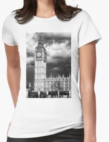 Storm Clouds Gather over Big Ben and the Houses of Parliament Womens Fitted T-Shirt