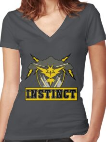 Pokemon Go Team Instinct Logo Women's Fitted V-Neck T-Shirt