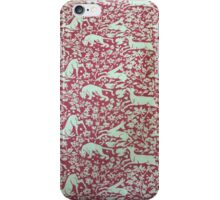 Red and white animal print iPhone Case/Skin