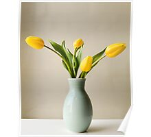 Yellow tulips in green vase Poster