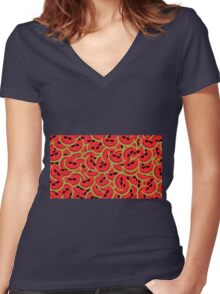 Watermelon Party Women's Fitted V-Neck T-Shirt