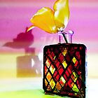 Harlequin Bottle With Yellow Tulip by SRowe Art