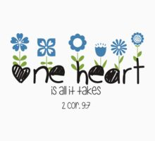 One Heart - Flowers One Piece - Short Sleeve