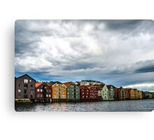 Trondheim river with contrast clouds Canvas Print