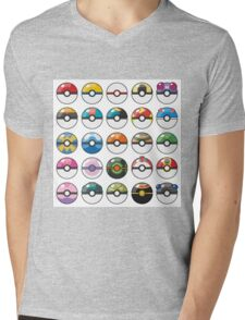 Pokemon Pokeball White Mens V-Neck T-Shirt