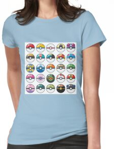 Pokemon Pokeball White Womens Fitted T-Shirt