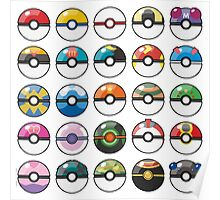 Pokemon Pokeball White Poster