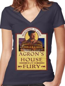 Agron's House of Fury (Spartacus) Women's Fitted V-Neck T-Shirt