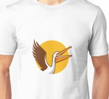 Pelican Flying Up Circle Retro Unisex T-Shirt
