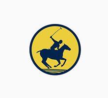 Polo Player Riding Horse Circle Retro Unisex T-Shirt