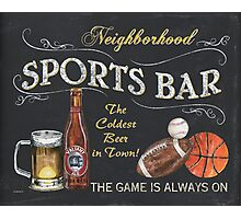Chalkboard Sports Bar Sign Photographic Print